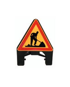 Kolmiojalka, tietyömaa varoitusmerkillä (LM 142)